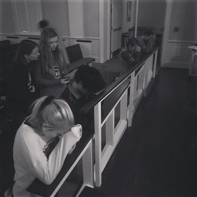 """Love to see our youth so deep in reflection during our prayer stations we did. ❤️ It's a beautiful sight. """"We will never reflect the life of Jesus more than when we hold forgiveness in our hearts."""""""
