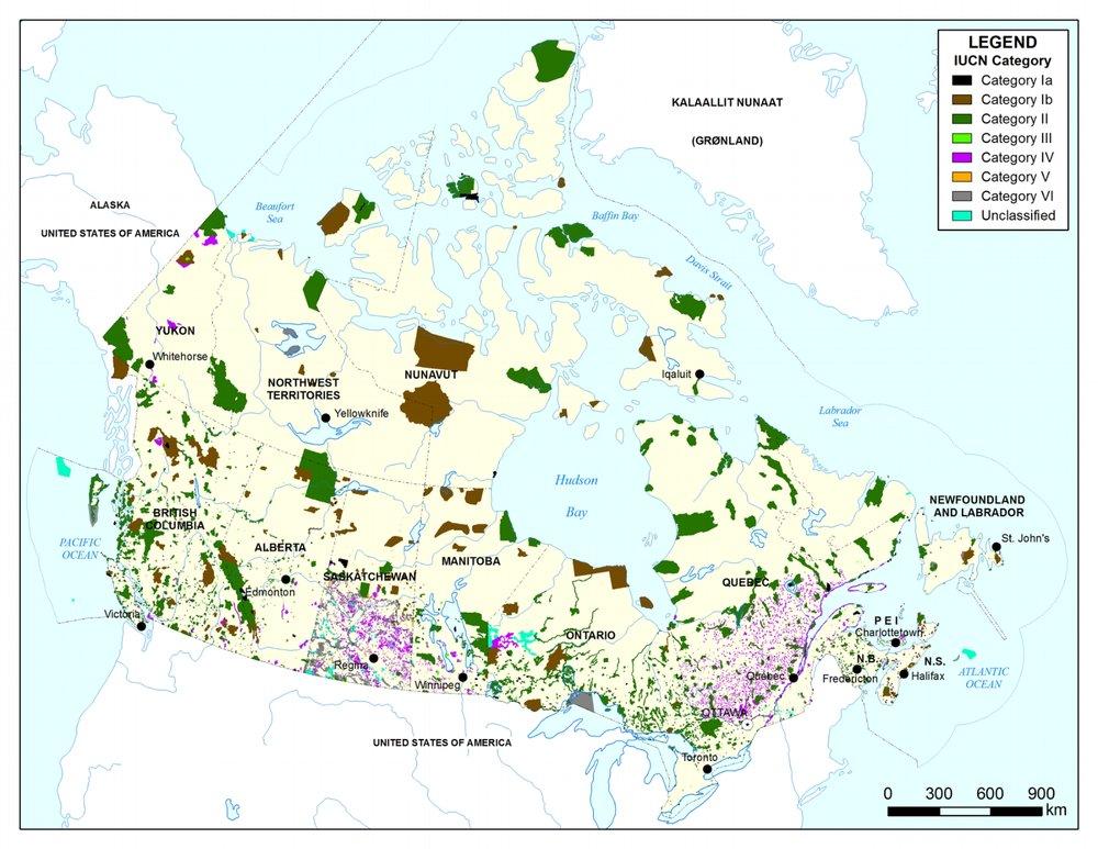 Carte des aires protégées de Canada (2015)  Cliquez pour agrandir