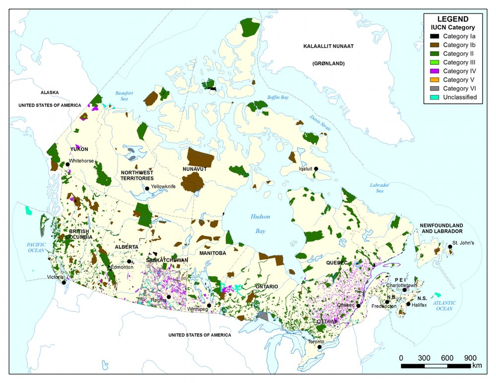 Click to expand - map of Canada's protected areas (2015)