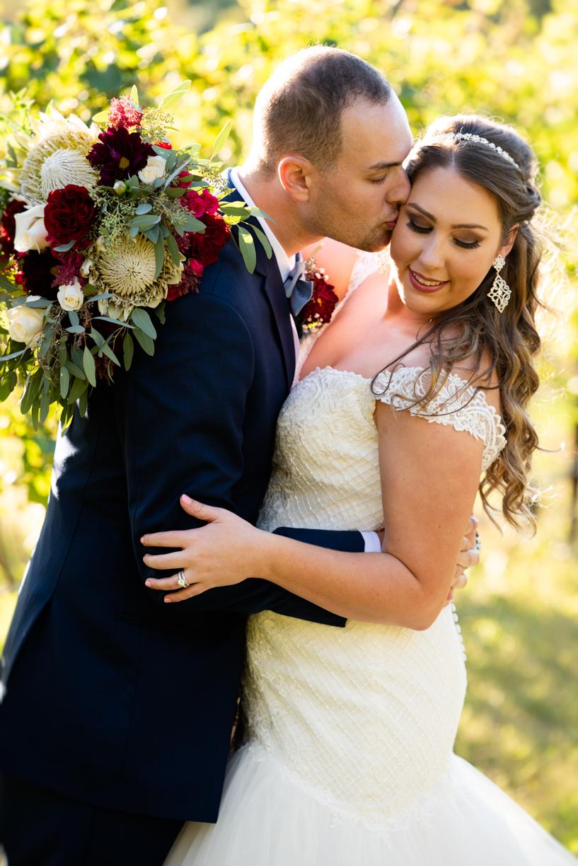 Just married photos at Round Peak Vineyards.
