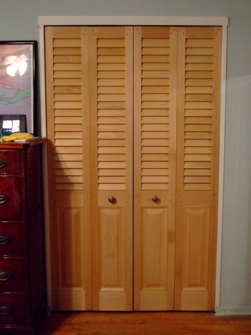 Louvered Over Panel Bifold Double Door