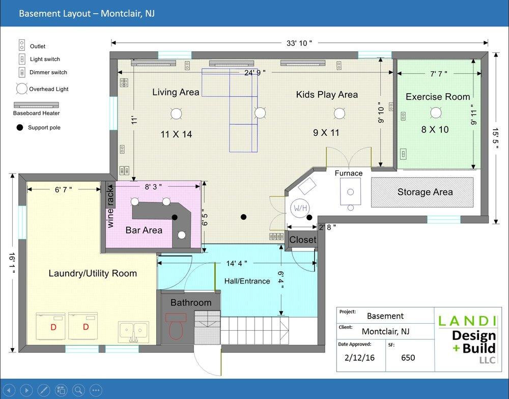 Basement floor plan ex&le  sc 1 st  landi design + build & LD+B PROCESS u2014 LANDI DESIGN + BUILD