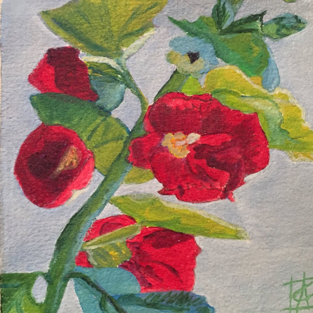 "Hollyhocks 1 '16 10"" sq. $500"