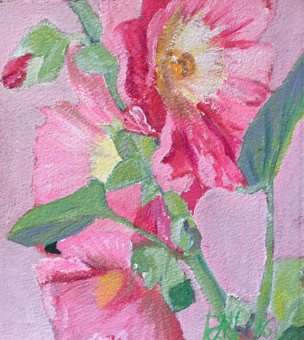 "Hollyhocks 2 '16  ca 9"" sq. $500"
