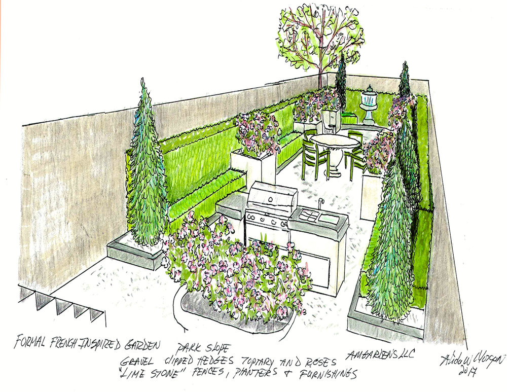 Formal French Inspired Garden Park Slope 2017