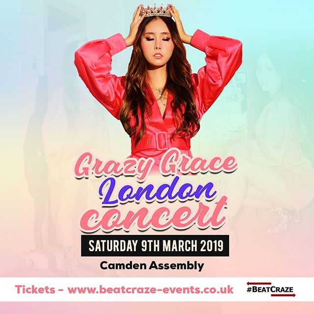 We are excited to announce that Grazy Grace will be hitting the stage in London on Saturday March 9th 2018!  Exciting new music and projects coming your way from @gebabyk!  Date: Saturday 9th March 2019  Venue: Camden Assembly  Ticket Categories:  General: £20 (includes hi-touch with Grace)  VIP: £45 (Meet & Greet + Signing Session + Group photo of 5)  Tickets on sale: January 12th 2019 at 12PM GMT (afternoon) beatcraze-events.co.uk