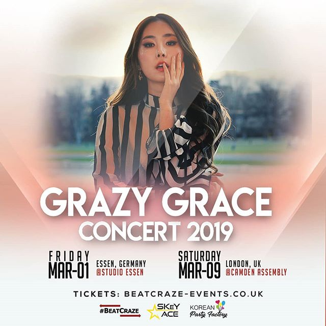 Get ready to turn up with the fabulous GRAZY GRACE @gebabyk in March 2019!!! 🔥🎤🔥 -  NEW date added: Germany! 🇩🇪🇬🇧 🎉1st March: Essen, Germany 🎉9th March: London, UK - Tickets:  GA: £20 / VIP:  beatcraze-events.co.uk (London) ON SALE NOW  GA: €30 / VIP: €55 koreanpartyfactory.de (Essen) on sale 10th February!!! via @koreanpartyfactory . ✨See you all soon!✨ .  For Germany, go to our friends: @skeyace @koreanpartyfactory -  #GrazyGrace #그레이스  #GraceinEurope #GraceinGermany #GraceinLondon #BeatCraze #BeatCrazeEvents #SkeyAce #KpopFactory #KpopParty #KpopConcert
