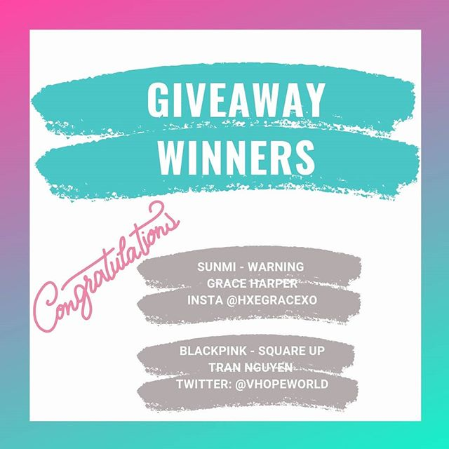 "[ALBUM GIVEAWAY WINNERS] 🎉 Congratulations!🎉 The 2 winners are:  #BLACKPINK Square Up - Tran Nguyen (Insta: @tranmtn/ Twitter: @/vthopeworld )  #SUNMI Warning - Grace Harper (Instagram: @hxegracexo)  Thanks to all who participated! Drop a ""🔥"" emoji if you want us to do another giveaway!  #giveaway #kpopalbum #kpop #kpopgiveaway"