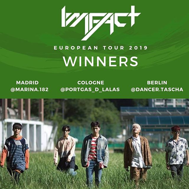 Thank you to all who participated in the giveaway! 🎉  Winners for #Madrid, #Berlin and #Cologne are tagged. Congrats! 🔥 Enjoy the concert!🔥 . .  #Imfact #EuropeTour #ImfactEuropeanTour2019 #임팩트 #지안 #제업 #태호 #상 #웅재 #kanzenmusic #BeatCraze