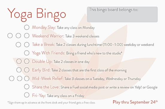 Fuel Yoga Portland Bingo Card