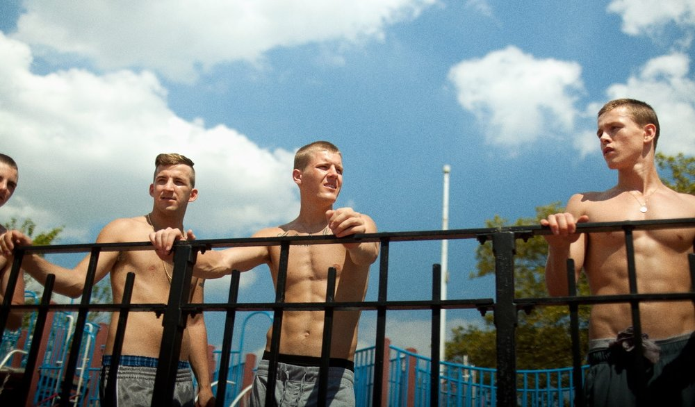 Anton Selyaninov, Frank Hakaj, David Ivanov, and Harris Dickinson in  Beach Rats  © 2017 Neon