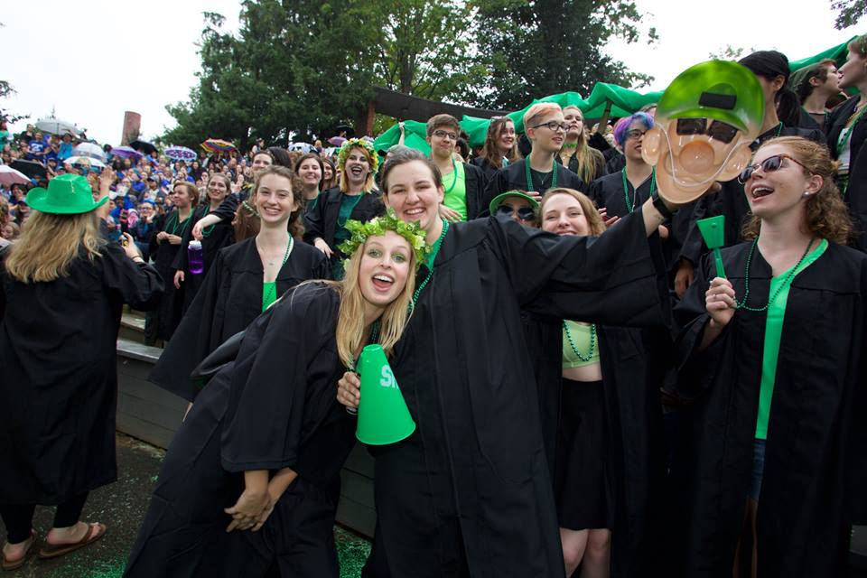 Photo courtesy of the Office of Communications Haley Robinson '17 and Julia McConnell '17 stand in the crowd of the Green Griffin senior class on Tuesday