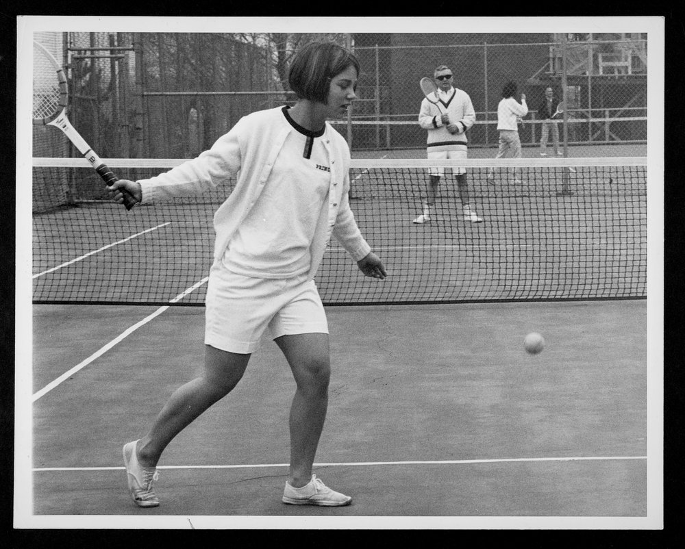 Father and daughter play a tennis match in 1966.