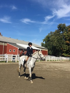 Photos by Liz Huang '17  Mika McKinney '18 rode to a first place finish in Novice Flat, one of seven MHC riders to take first.