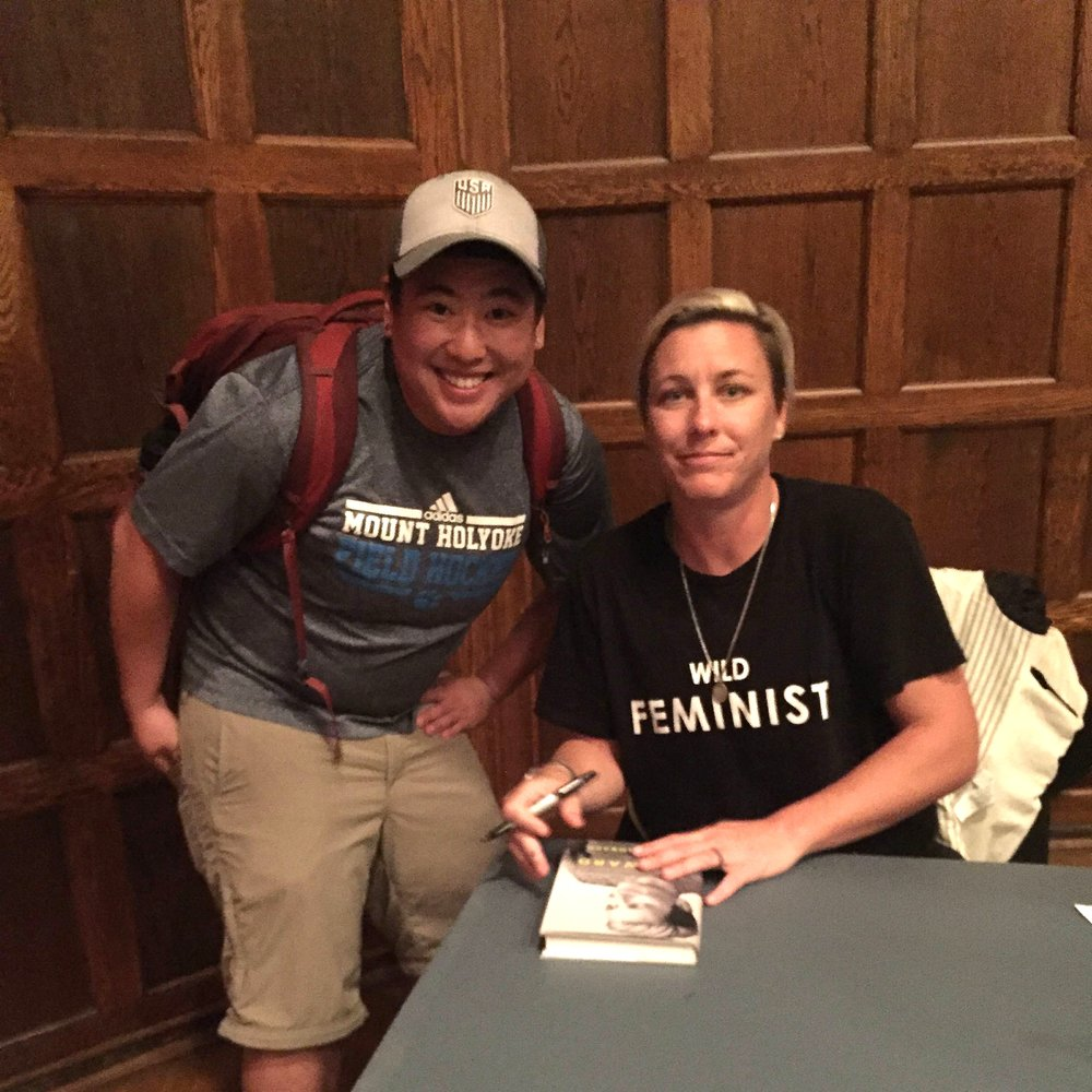 Photo courtesy of Emet Marwell '18 Emet Marwell '18 met soccer player Abby Wambach when Wambach spoke at Mount Holyoke earlier this year.