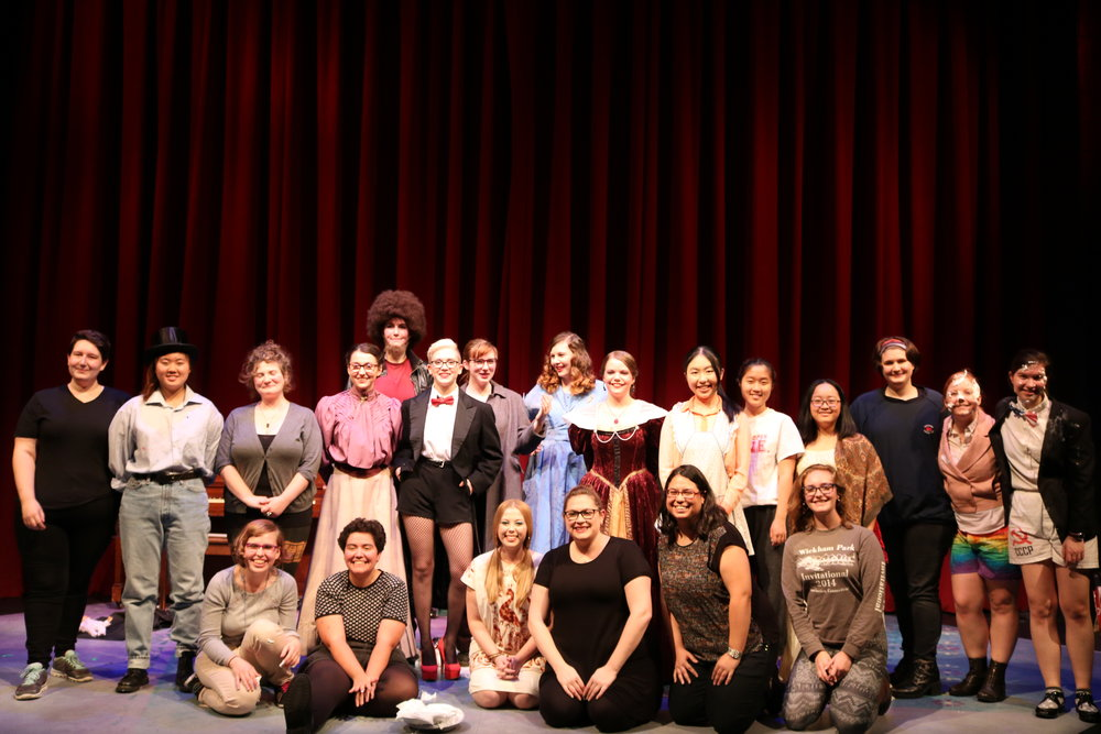 """Photo by Dana Pan '20 The cast members of Lipstick Thespians, a student-run review, take their bows to """"Secrets"""" by Mary Lambert. The show performed on Oct. 21 and featured a series of unconnected sketches and songs, ranging from serious to comical."""