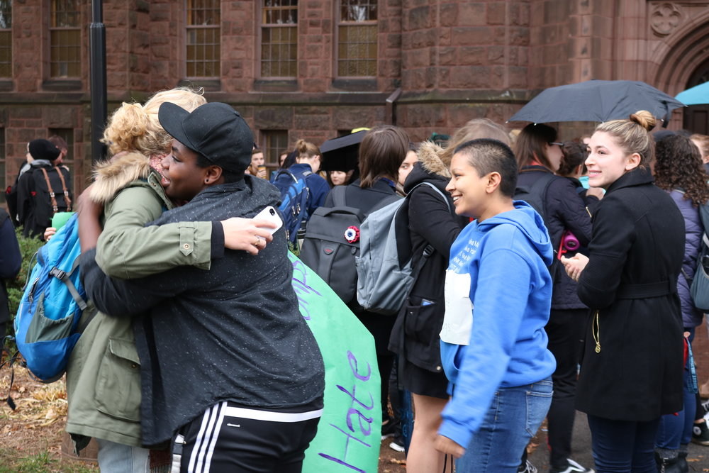 Photos by Dana Pan '20 Students, faculty and staff gathered in a circle outside Williston Miles-Smith Library Wednesday afternoon in reaction to the results of the 2016 presidential election, during which Donald Trump was announced as president-elect.