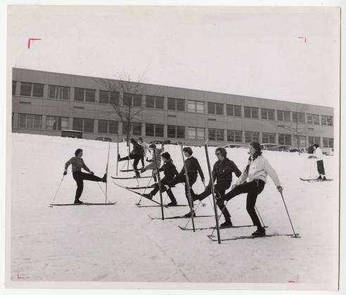 Ruth Elvdt, Associate Prof of PE ski class 1963 below Cleveland Hall.jpg