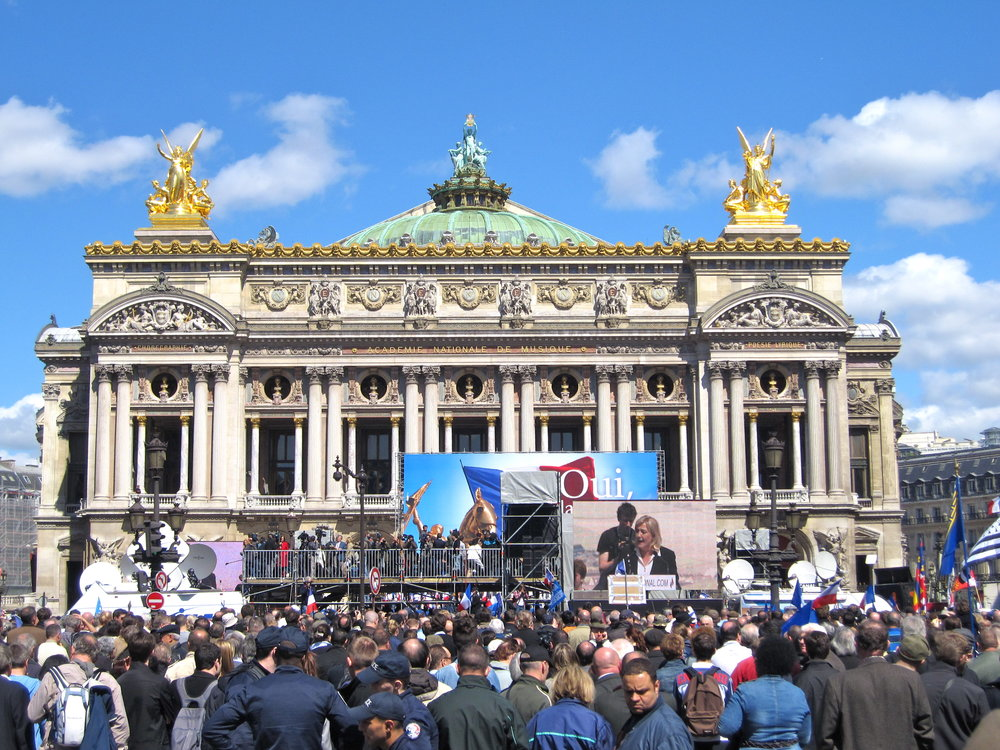 Photo courtesy of Flickr Creative Commons  Marine Le Pen hosts a rally on May Day in front of l'Opera France
