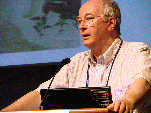 Photo courtesy of Flickr Philip Pullman speaks at the Writers' and Literary Translators' International Congress in Stockholm, Sweden, in 2008.