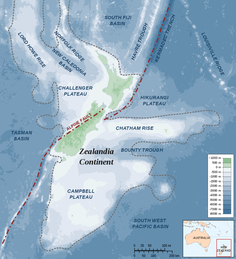 Photo courtesy of Wikimedia Commons This map depicts the southern part of Zealandia, an recently-discovered continent underneath New Zealand.