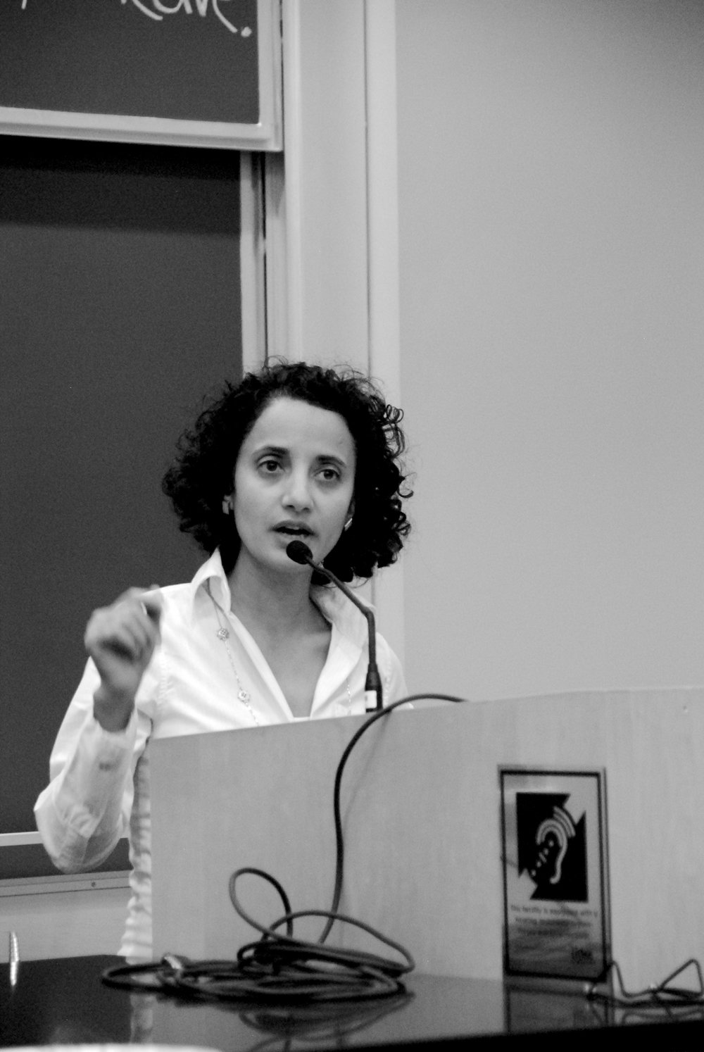 Photos by Ayla Safran '18 Nadwa Al-Dawsari addressed the MHC community on the current political situation in Yemen.