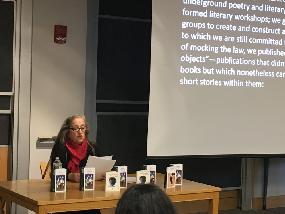 Photos courtesy of Nieves Romero-Diaz Pia Barros shared her experience using literary production as a form of feminist political action with the MHC community. She discussed gender and sexual violence as well as feminism as a political movement.