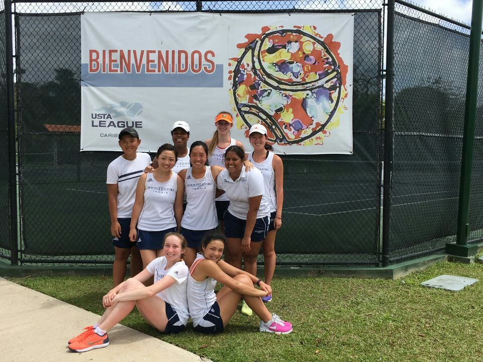 Photo courtesy of Joy Maran '19 Mount Holyoke Tennis traveled to Puerto Rico over spring break and celebrated wins in Mayaguez and Bayamon.