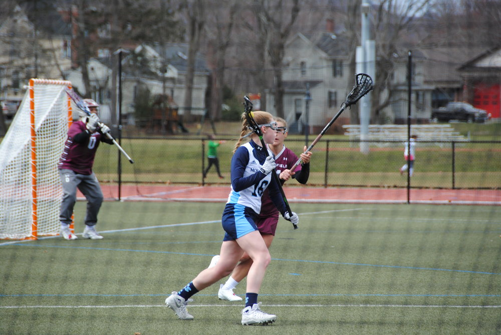 Photo by Ayla Safran '18 Haley Subocz '19 went on the offensive for the Lyons in a game against Springfield College on Saturday.