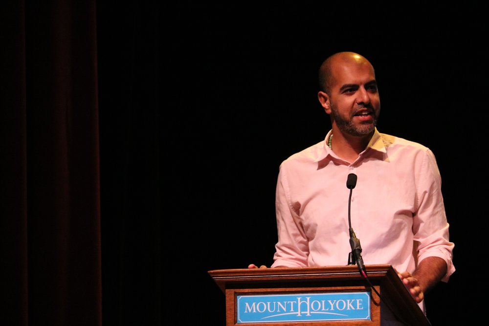 "Dana Pat '20  Haroon Moghul devlivering his speech on ""How to Be a Muslim: An American Story,"" in Chapin Auditorium"