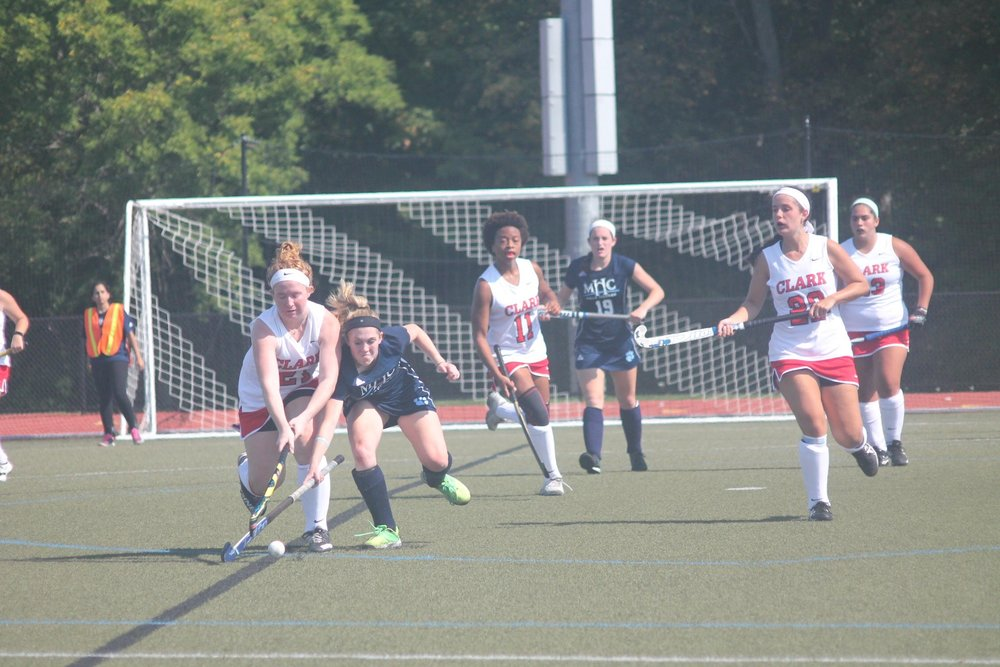 Photo by Emily Pollack '20  The Clark University Cougars battle against Mount Holyoke on the field.