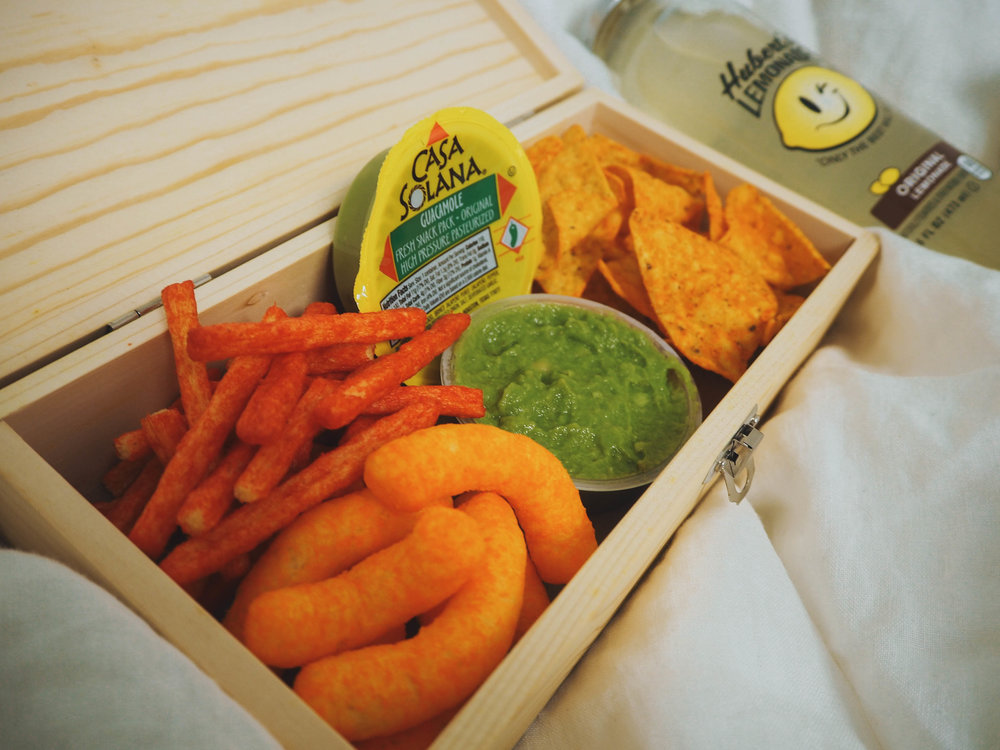 Photo by Tammy Vesvarute '21  Blanchard snack pack, including Cheetos, Cheetos Puffs, Dorritos and Caya Solana Guacamole. The guacamole was added to the Blanchard Cafe offerings in fall, 2017.
