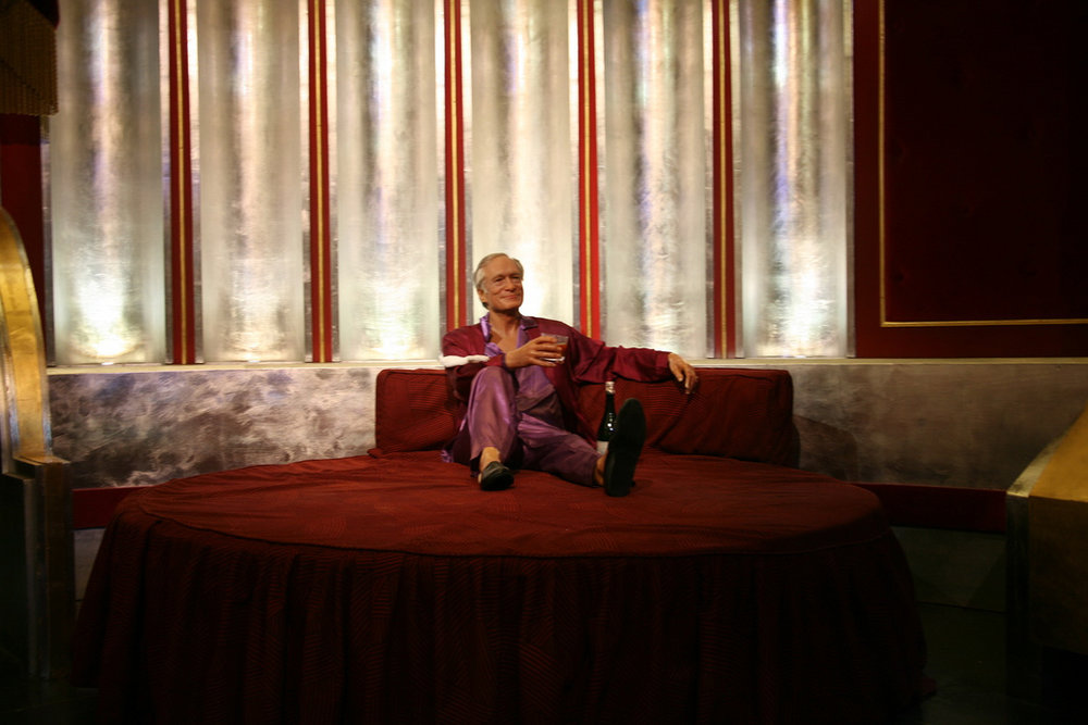 Photo courtesy of Flickr  Hugh Hefner's wax figure lounging in his Playboy mansion at Madame Tussaud's wax museum in Las Vegas, arguably did more for feminism than the man himself.