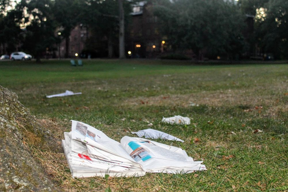 Photo by Emily Pollack '20 An array of trash, including takeout, napkins and a textbook, strewn on Skinner Green outside of Wilder Hall.