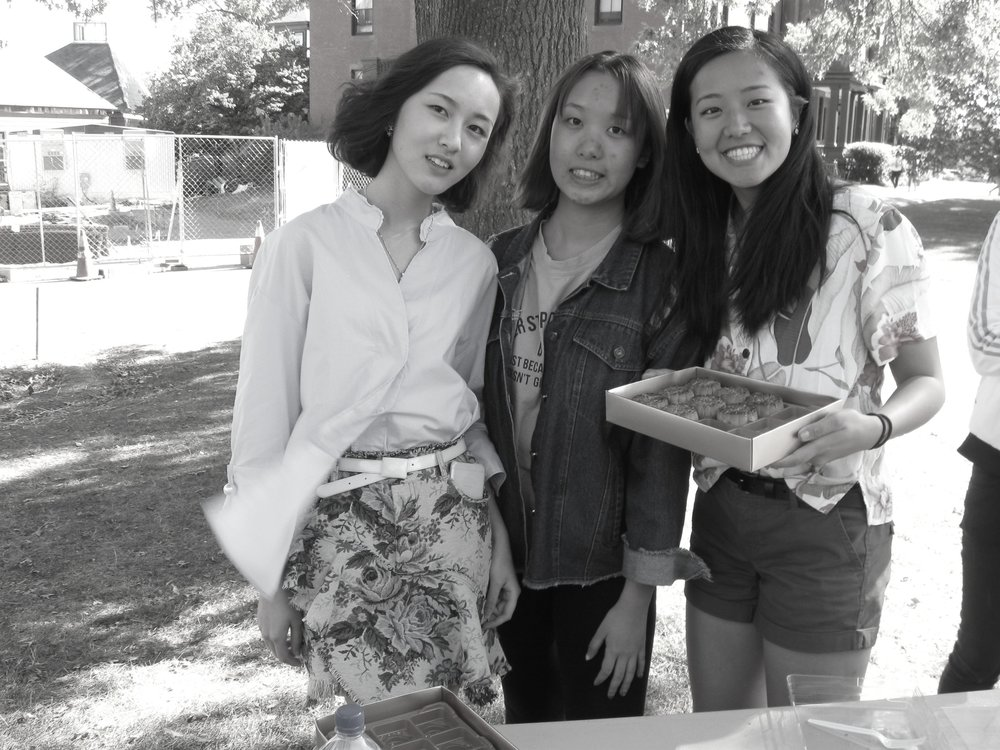 Photo by Emma Himmelberger '20  Jingfei Chen '20, Juerong Jiang '20 and Savana Wang '20 celebrate fall