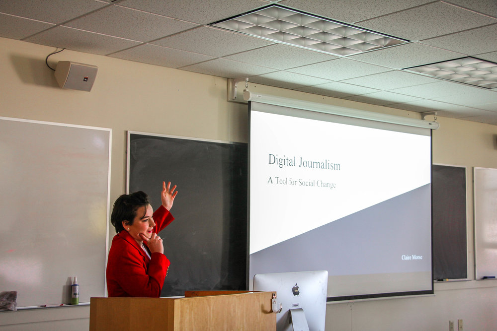 Photo by Joliet Morrill '21  Claire Morse '18 gives a presentation on Digital  Journalism at the 2017 LEAP Symposium.