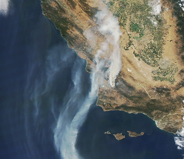 Photo courtesy of Wikimedia Commons  NASA satellite image shows smoke from wildfires covering the state of California over the past weeks