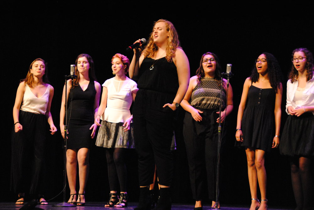 "Photo by Ayla Safran '18  Elyse Kiehn '18 performs ""At Last."""