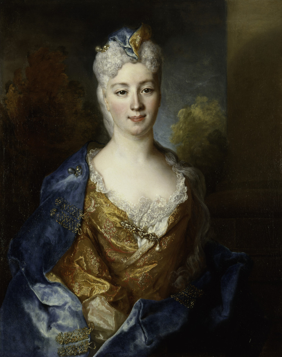 Photo by Laura Weston  Oil painting of Marie Elisabeth Desiree de Chantemerle by Nicolas de Largillière used to advertise Grossman's tour in Nov.