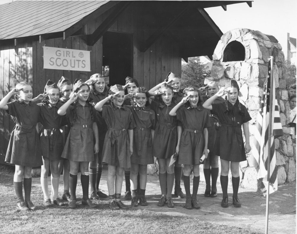 Photo courtesy of Seattle Municipal Archives  Girl Scouts attend Camp Long in Seattle, WA circa 1940. Camps such as this share an objective to build girls' courage, confidence and character.