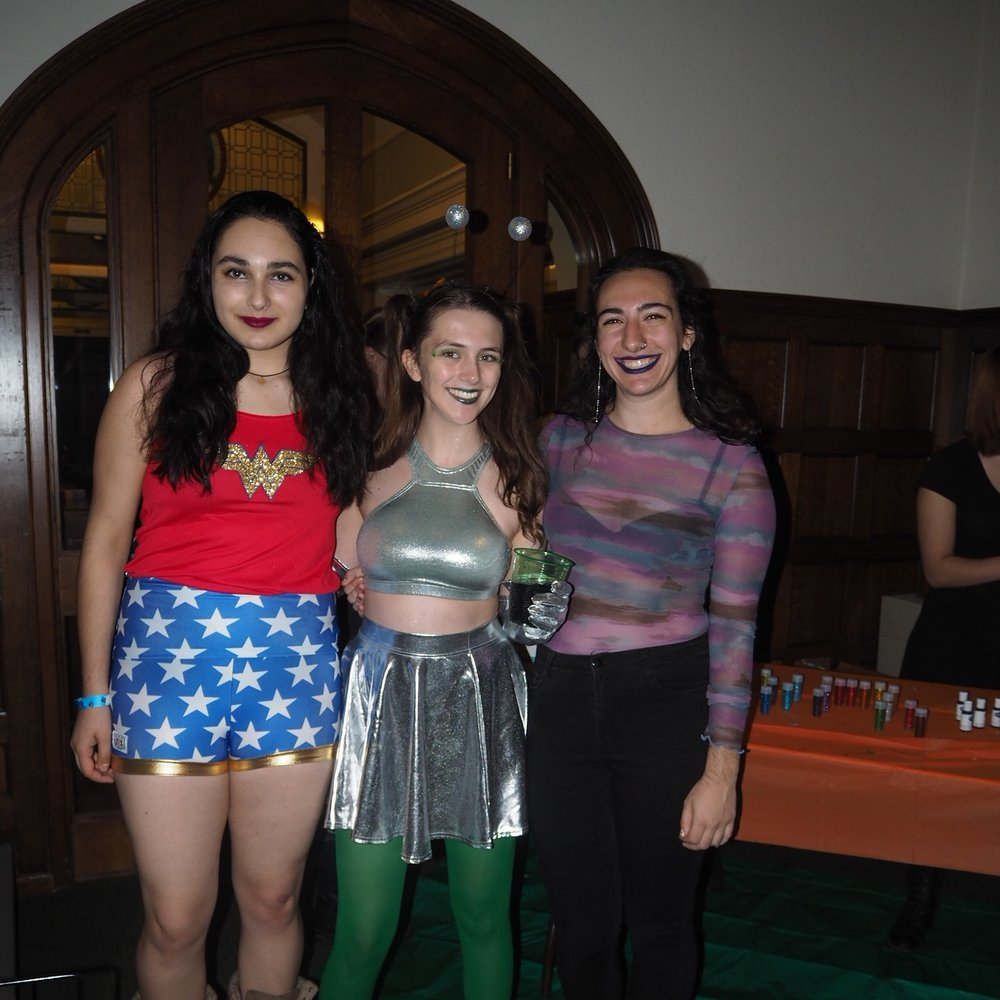 Lila Oren-Dahan '20, Ann Hewitt '20 and Sarah Dauer '20 dressed in costume for Spooky Skate.
