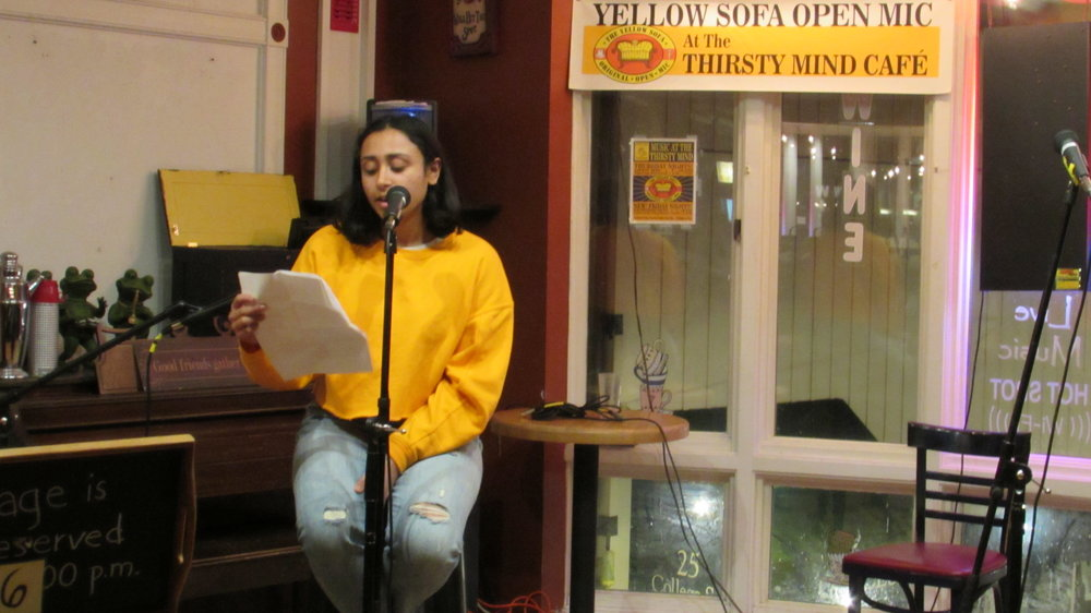 Photo by Yingke Yang '20 Anisha Pai '19 performed at the MHC International Student Organizing Committee's Open Mic on Sunday.