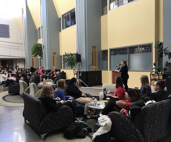 Photo courtesy of the Student Government Association   Dean Hall delivers opening remarks to the attendees of the Seven Sisters Leadership Conference on Nov. 11.