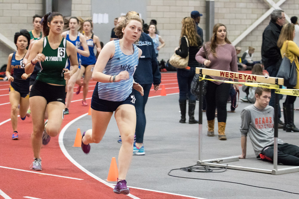 Photo by Julia Cronin '92  MHC Track and Field athlete Mia Barnes competes during this past weekend's Invitational