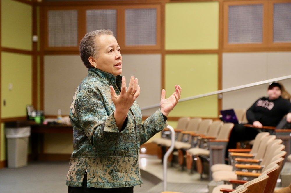 Photo by Li Qin '21  Dr. Beverly Daniel Tatum addressed SGA Senate last Tuesday to discuss the ongoing presidential selection process and how students can get involved.
