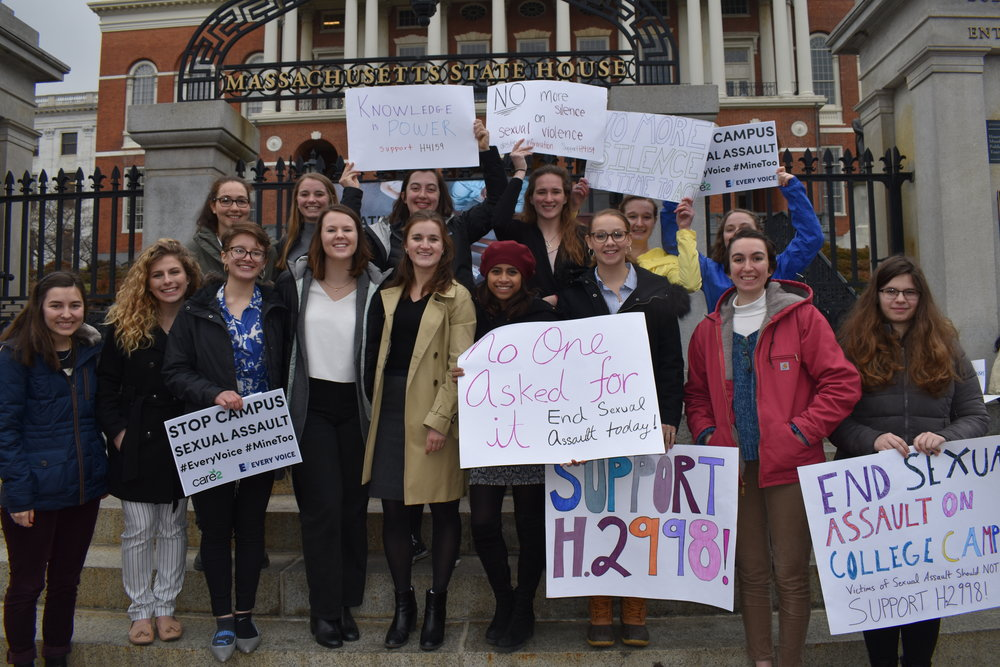 Photo courtesy of Emma Himmelberger '20  Mount Holyoke students traveled to Boston on Tuesday to support campus assault bills currently pending in the House Ways and Means Committee.