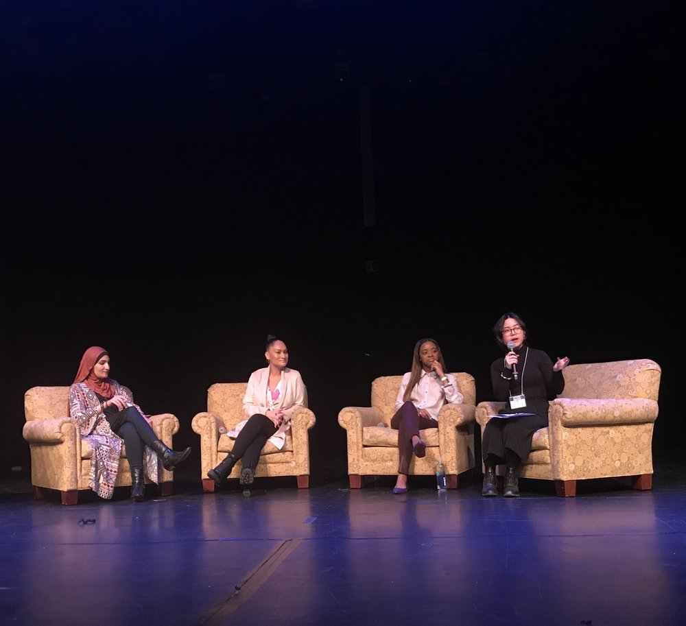 Photo by Mariana Jaramillo '20  Women's March organizers Linda Sarsour, Carmen Perez and Tamika Mallory (left to right) spoke at with moderator Millie Koong '18 (far right).