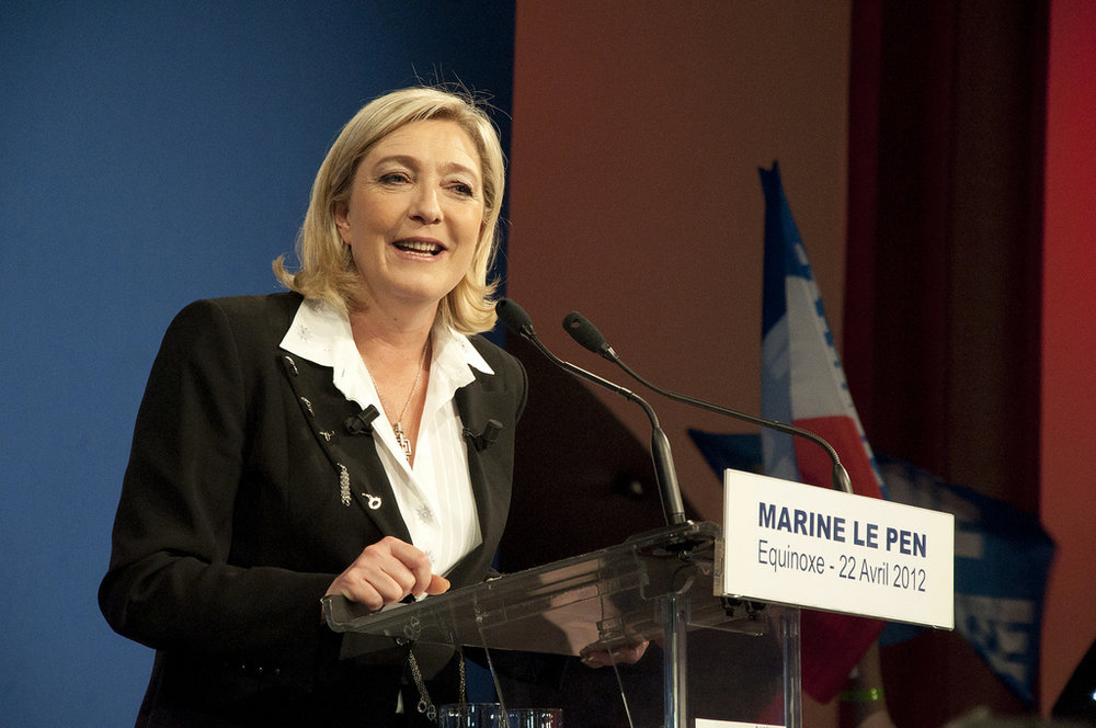 Photo courtesy of Flickr  French politician Marine Le Pen served as President of the National Front from 2011 to 2017.