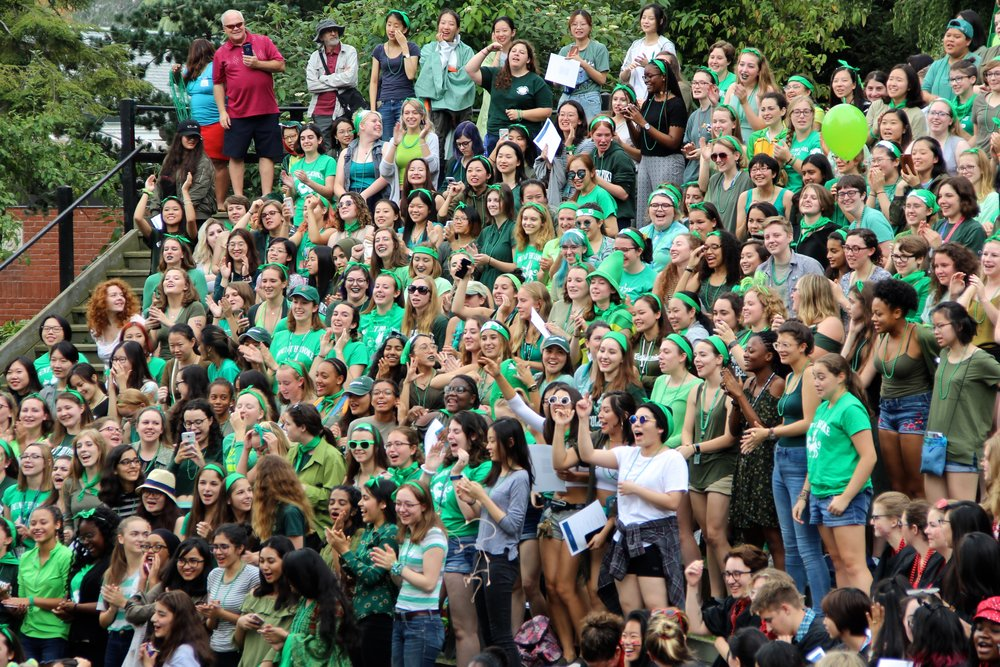 Photo courtesy of Advika Mukherjee '18  The class of 2021 cheers at Convocation 2017. Acting President Sonya Stephens gave the opening remarks, welcoming each class in attendance.