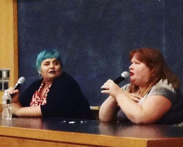 Photo by Kate Flaherty '19  Holly Black (left) and Cassandra Clare (right) visit Mount Holyoke in Sept.